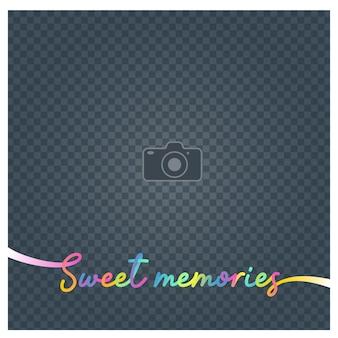 Collage di cornice e segno dolci ricordi illustrazione vettoriale, sfondo. cornice per foto vuota per l'inserimento dell'immagine