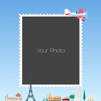 Collage di cornici per foto per l'illustrazione di tema di viaggio