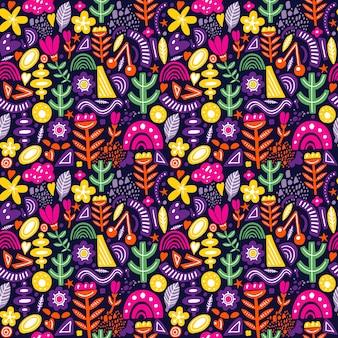 Modello senza cuciture stile collage con forme astratte e organiche in colori vivaci su oscurità. tessuto moderno e originale, carta da regalo, design di arte murale.