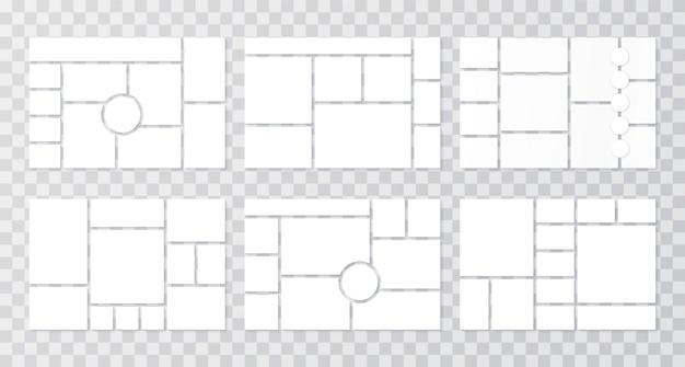 Modello di collage. griglie moodboard. sfondo del bordo dell'umore. impostare cornici a mosaico. illustrazione.