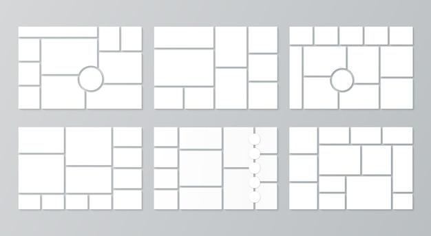 Modello di collage. layout moodboard. vettore. set di cornici per foto in mosaico. sfondo del bordo dell'umore. griglia di immagini. galleria di fotomontaggi. modello orizzontale di banner. album fotografico. illustrazione semplice.
