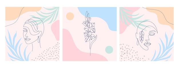 Collage con volti di donna e gladiolo. stile di disegno a una linea.
