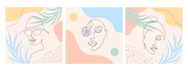 Collage con volti di donne. uno stile di disegno a tratteggio.
