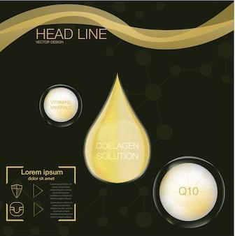 Collagene su sfondo astratto, goccia di olio di collagene supremo, soluzione cosmetica,