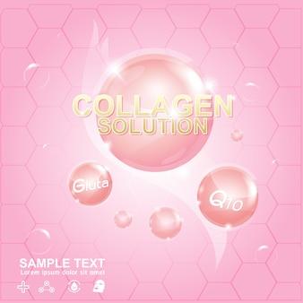 Banner cosmetico di collagene e siero