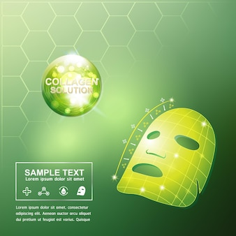 Manifesto cosmetico di cura della pelle di concetto del fondo della vitamina e del siero del collagene.