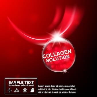 Manifesto cosmetico di cura della pelle del concetto del fondo della vitamina e del siero del collagene.