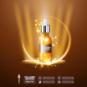 Sfondo di siero di collagene e vitamina per il concetto di cura della pelle