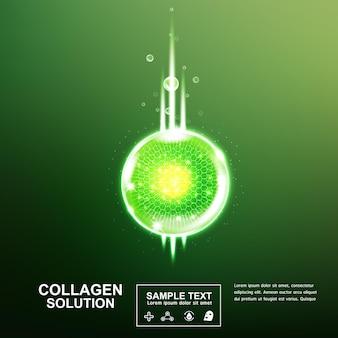 Siero di collagene o vitamina palla e bolla su sfondo verde per prodotti per la cura della pelle.