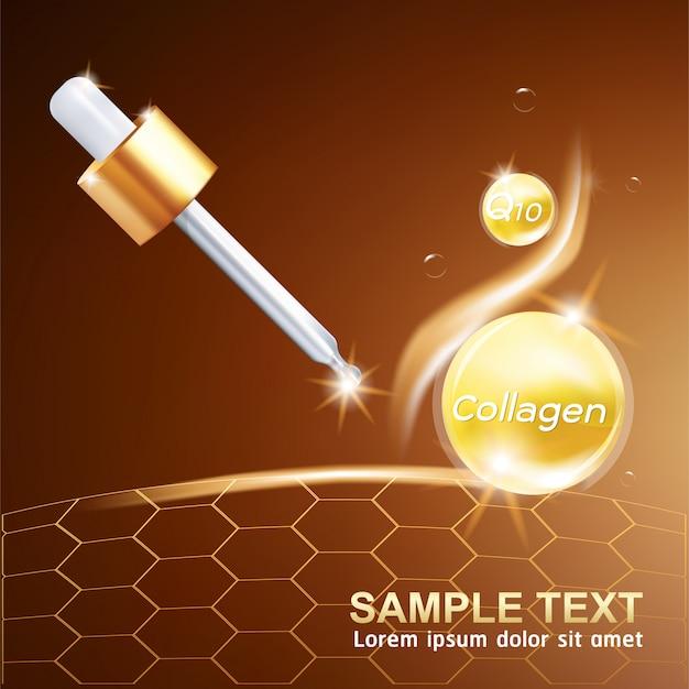Cosmetico di cura di pelle di concetto del fondo della palla di potere della vitamina o del siero del collagene.