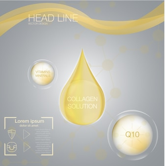 Goccia di soluzione di collagene e sfondo vitaminico.