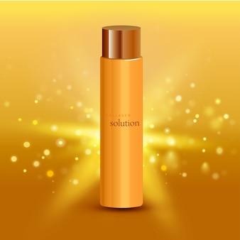 Manifesto pubblicitario intensivo del fondo dell'oro del tubo crema della soluzione del collagene per l'illustrazione realistica dei prodotti farmaceutici e dei cosmetici