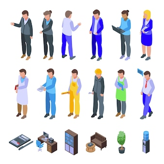 Le icone del collega hanno impostato il vettore isometrico. spazio di lavoro. persone della scrivania dell'ufficio