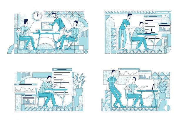 Insieme di illustrazioni di sagoma piatta coworking colleghi. i lavoratori del dipartimento di marketing descrivono i caratteri su fondo bianco. analitica aziendale che analizza un semplice pacchetto di disegni di stile