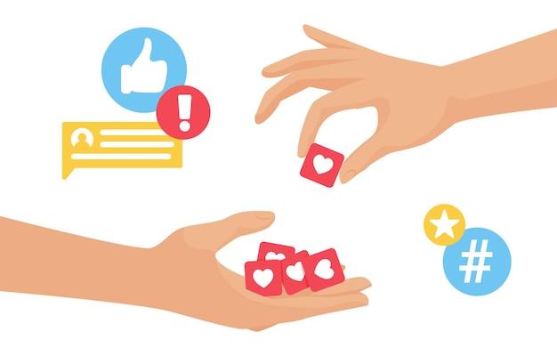 Raccogli il feedback della mano del blogger dai mi piace dal pubblico dei follower