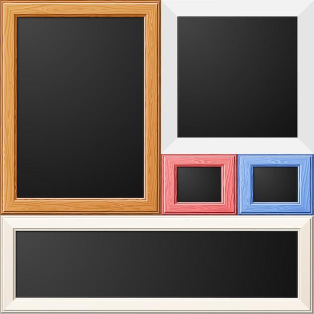 Raccogli cornici in legno e carta per foto o immagini