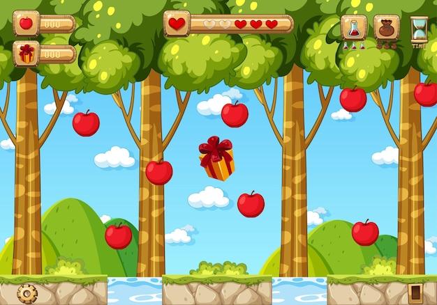 Modello di gioco platform collecting apples
