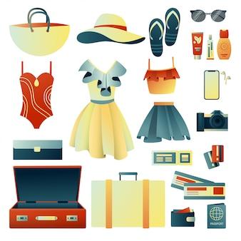 Raccogliere una valigia durante un viaggio: vestiti, documenti, attrezzatura. roba da viaggio. pianificazione di vacanze estive, turismo. illustrazione alla moda colorata. design piatto. illustrazione