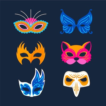 Collezione di maschere di carnevale veneziano animali 2d