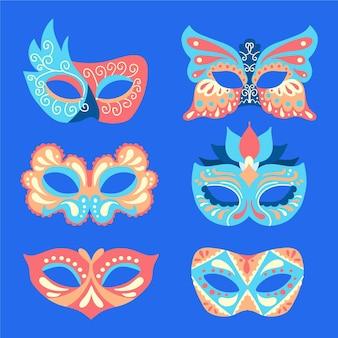 Collezione di maschere di carnevale veneziane 2d illustrate