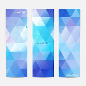 Raccolta dei 3 banner web blu. può essere utilizzato per il tuo design.