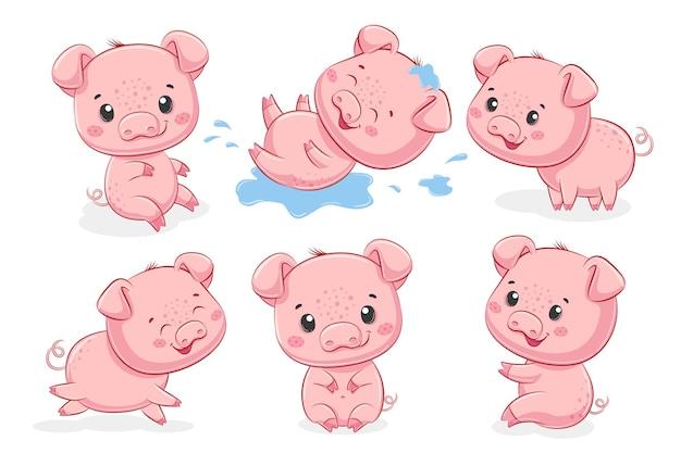 Una collezione di 6 simpatici maialini. illustrazione vettoriale di un cartone animato.