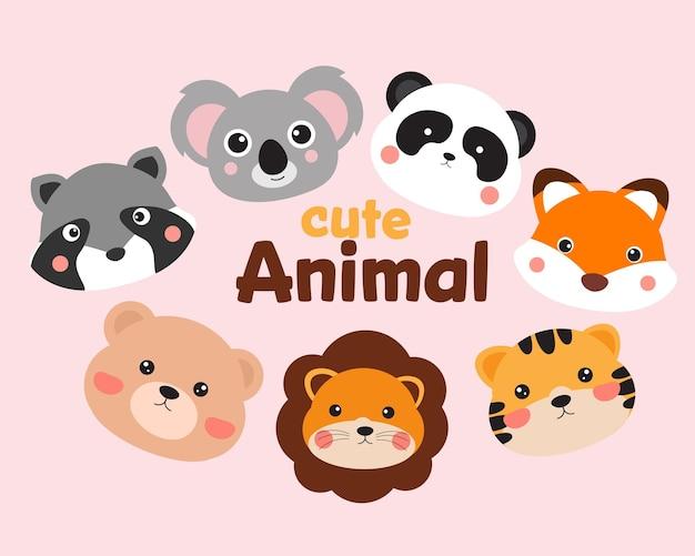 Raccolta di 7 facce di animali divertenti dei cartoni animati