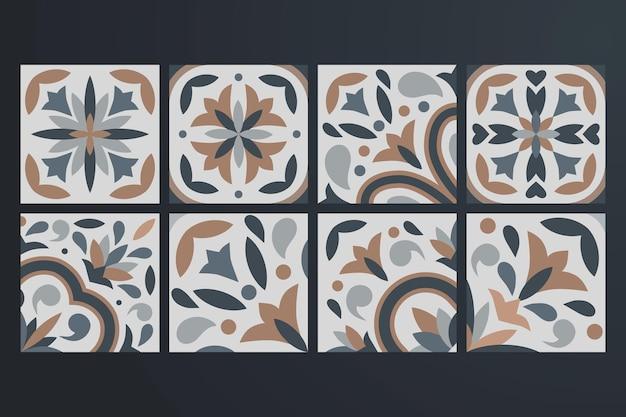 Collezione di 8 piastrelle in ceramica in stile vintage