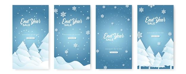 Raccolta di disegni di sfondo astratto, saldi invernali, natale, saldi di fine anno, banner di capodanno, contenuti promozionali sui social media. illustrazione vettoriale