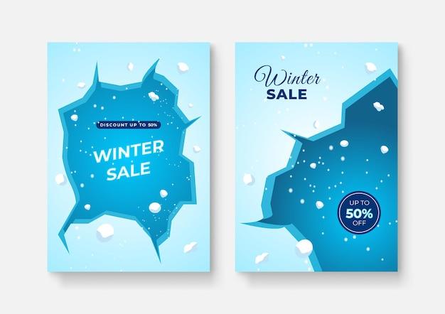 Raccolta di sfondi astratti, saldi invernali, contenuti promozionali sui social media. illustrazione vettoriale