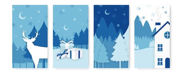 Raccolta di sfondi astratti, saldi invernali, contenuti promozionali di storie sui social media. illustrazione vettoriale