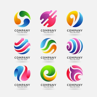 Collezione di design del logo astratto cerchio Vettore Premium