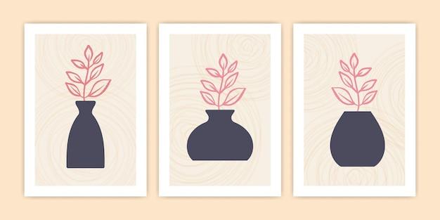 Collezione di illustrazioni di poster di fiori e vasi astratti