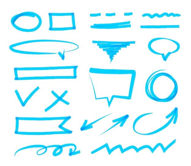 Raccolta di pennarello disegnato a mano astratto. insieme di vettore dei segni di evidenziatore blu, tratti, strisce e frecce. elementi di design marker evidenziati. isolato.