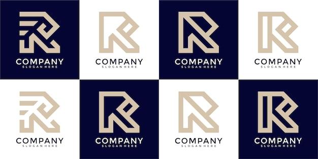 Raccolta di disegni astratti del logo della lettera r