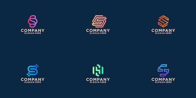 Raccolta di disegni di logo astratto lettera s. appartamento minimalista moderno per affari