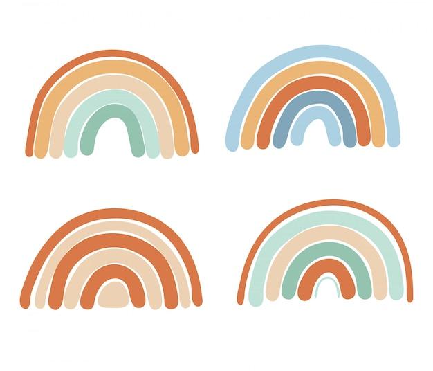 Collezione di arcobaleni semplici astratti nei colori blu, marrone e menta, elementi isolati