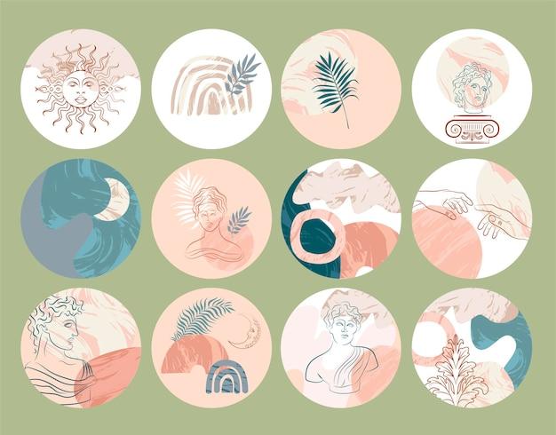 Raccolta di copertine di evidenziazione di vari vettori astratti con sculture ed elementi antichi, forme astratte, marmo per storie sui social media.