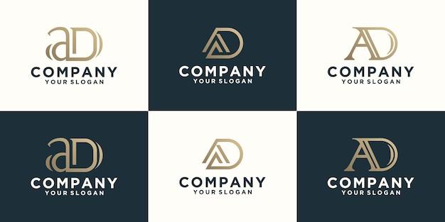 Collezione di loghi di lettere pubblicitarie con stili di linea e colore dorato