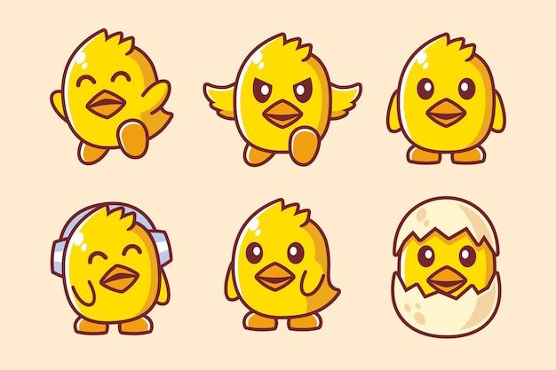 Collezione di adorabili personaggi dei cartoni animati di pulcino