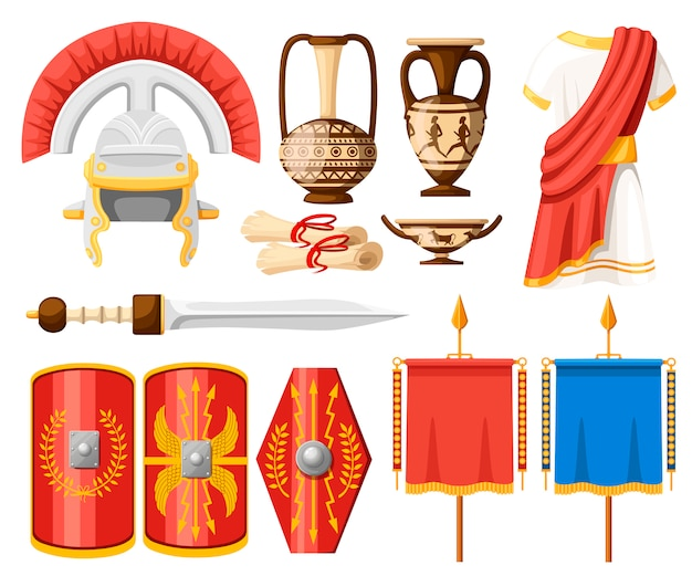 Collezione di antiche icone romane. abiti, gladio, scudo, pergamene e stoviglie in ceramica. illustratore su sfondo bianco