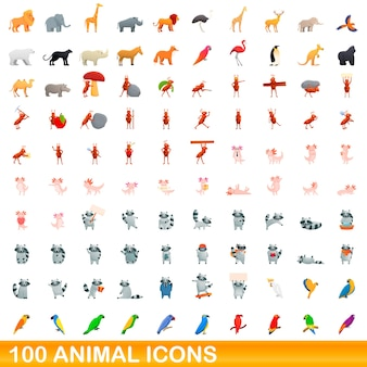 Raccolta di icone di animali isolato su bianco