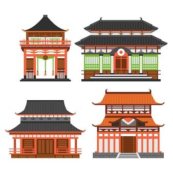 Collezione di tempio giapponese architettonico Vettore Premium