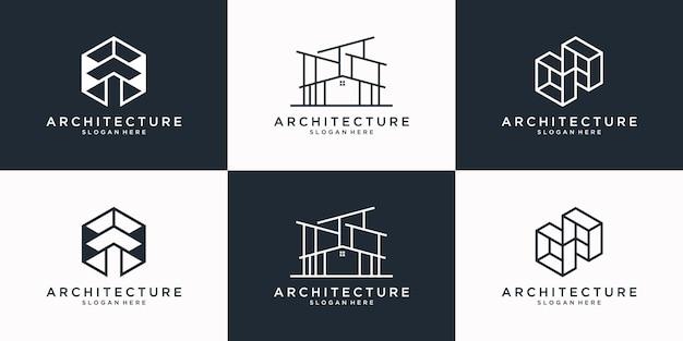 Raccolta di modello di progettazione di logo di architettura. edificio minimalista, immobiliare, ristrutturazione, logo della casa con stile line art.
