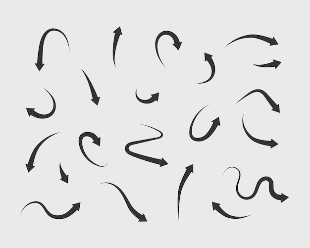 Insieme di vettore frecce simboli sfondo bianco e nero. diverse icone a forma di freccia hanno impostato il cerchio, su, riccio, dritto e attorcigliato. elementi di design.