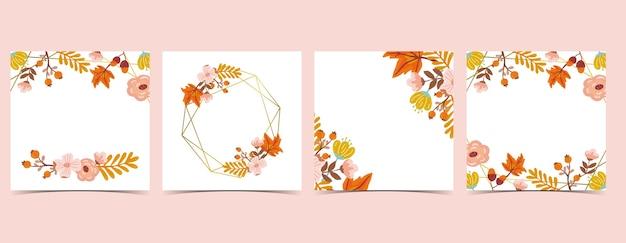 Raccolta di sfondo autunnale con foglie, acero, cornice.