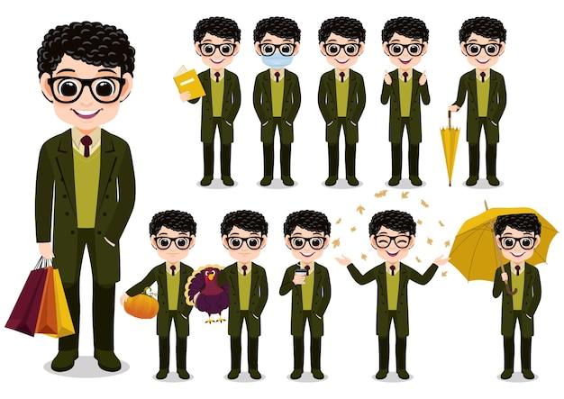 Raccolta di attività all'aperto del personaggio dei cartoni animati del ragazzo di autunno con il cappotto lungo verde, fumetto isolato sull'illustrazione bianca di vettore del fondo