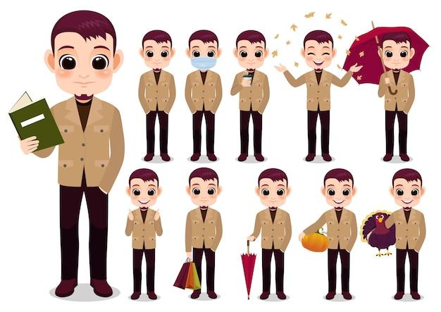 Raccolta delle attività all'aperto del personaggio dei cartoni animati del ragazzo di autunno con il colore cachi della giacca, fumetto isolato sull'illustrazione bianca di vettore del fondo