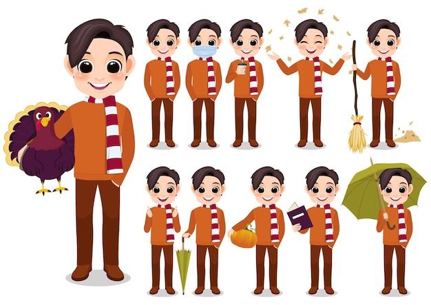 Raccolta delle attività all'aperto del personaggio dei cartoni animati del ragazzo di autunno con il maglione e la sciarpa arancioni, fumetto isolato sull'illustrazione bianca di vettore del fondo
