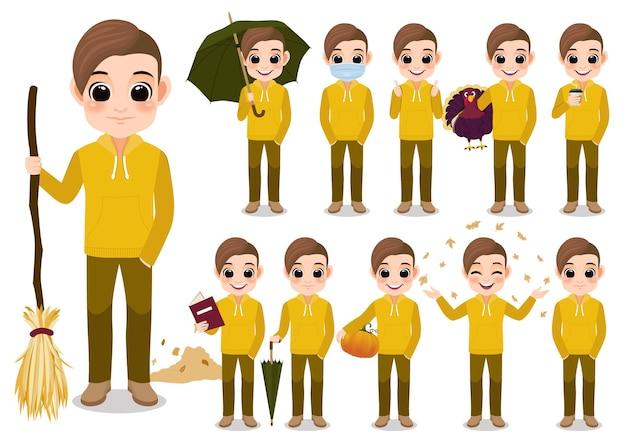 Raccolta di attività all'aperto del personaggio dei cartoni animati del ragazzo di autunno con la giacca con cappuccio gialla, fumetto isolato su fondo bianco illustrazione vettoriale